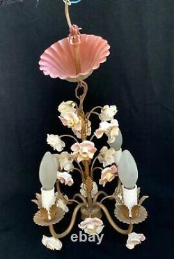 Pretty Vintage French Porcelain Flowers 4 Arm Chandelier Art Deco Period