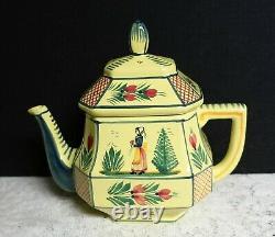 Quimper Soleil Yellow teapot gravy boat & small pitcher Breton Women France 1930