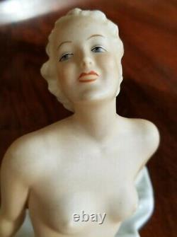 RARE Antique Germany SCHAU BACH KUNST Nude Woman Porcelain Figurine Art Deco