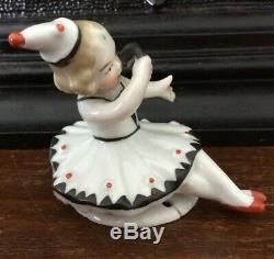RARE Antique Porcelain Art Deco Nouveau Pierrot Pin Cushion Half Doll Figurine