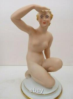 RARE Art Deco Gerold Tettau Porzellan German Bavaria Kneeling Nude Lady Figurine