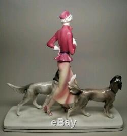 RARE Early HERTWIG KATZHUTTE Art Deco 14-1/8 Lady w Hunting Dogs German VINTAGE