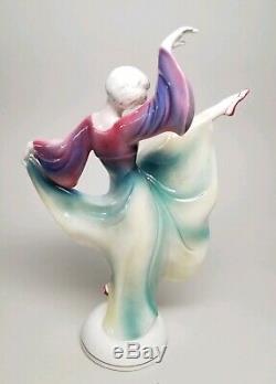 RARE Early HERTWIG / KATZHUTTE Art Deco 8.5 Dancing Lady Dancer German VINTAGE