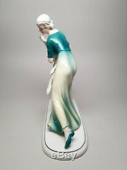 RARE Early HERTWIG / KATZHUTTE Art Deco 9-5/8 Lady with Borzoi Dog German VINTAGE