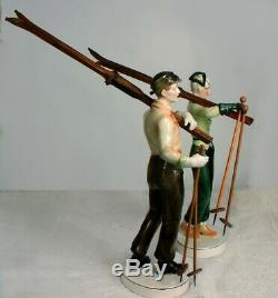 RARE Pair 1920 Art Deco Katzhutte Goldscheider Porcelain Skiers Orig Wood Skis