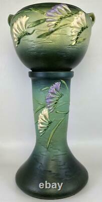 RARE Roseville Pottery Freesia Green 669-8 Jardiniere Vase Pot + Pedestal Stand