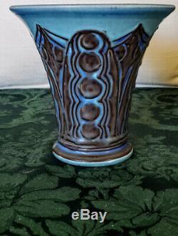 ROOKWOOD 1928 Rare Blue & Browns Flared Top Vase Elizabeth Barrett