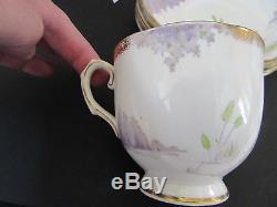 Rare 1930's Art Deco Water Lilly Wellington English Bone China Tea/Dessert Set