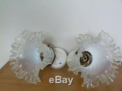 Rare 2 anciennes appliques base porcelaine + tulipes verre opalescent art déco