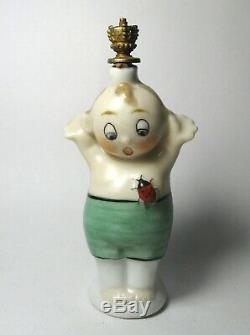 Rare Antique 1918 Art Deco Lady Bug Boy Crown Top Porcelain Perfume/Scent Bottle