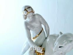 Rare Antique Hertwig & Co. Katzhutte German Porcelain Nude Figurine on Panther