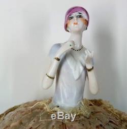 Rare Antique Porcelain Boudoir Half Doll FASOLD & STAUCH Art Deco Flapper Blue