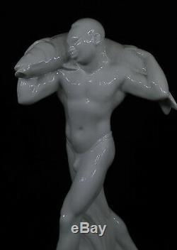 Rare Art Deco Porcelain Sculpture for Crown Prince Wilhelm Japanese man