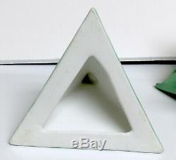 Rare Bavarian Art Deco Flapper Powder Jar Green Air Brushed Porcelain Figural