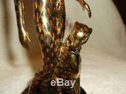 Rare Franklin Mint Erte Art Deco Lady w Leopard Ocelot Porcelain Figurine