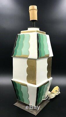 Rare French Aladin Luxe Art Deco Porcelain & Bronze Mount Lamp, ca 1920