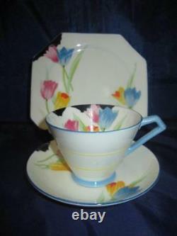Rare Handpainted Art Deco Paragon F2209 Tulip Pattern Cup, Saucer & Plate Trio