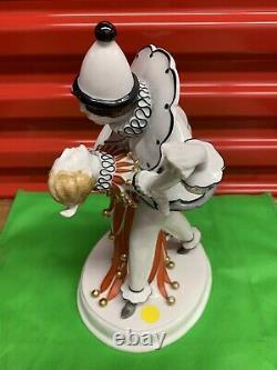 Rare Meissen Art Deco Porcelain Figurine Pierrot & Columbine