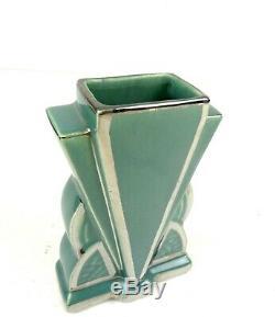Rare Original French Art Deco Skyscraper Ceramic & Chrome Vase 1925