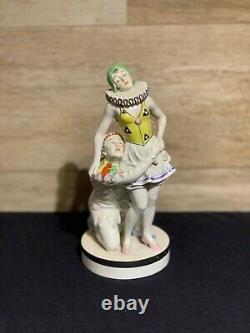 Rare Spectacular Volkstedt Art Deco Porcelain Figurine Pierrot Columbine