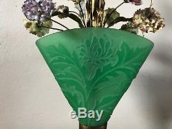 Rare Steuben Art Glass Jade Acid Etched Boudoir Lamp With Porcelain Flowers