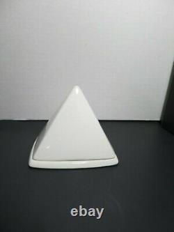 Rare Vint Salins Studio France Sugar Bowl Architectural Art Deco Pyramid White
