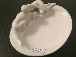 Rare Vintage Goebel Art Deco Porcelain 1920s Nude Borzoi Dog Figurine Dish