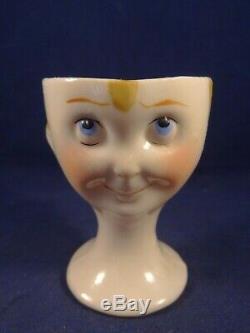Rare vintage porcelain egg cup children's face googly eyes Art Deco Germany