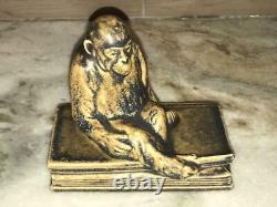 Rookwood Pottery Shirayamadani Monkey on Book Paperweight Figure 1924 #2677 4