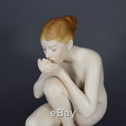 Rosenthal Wenck Die Trinkende Art Deco Figur figure figurine porcelain Akt nude
