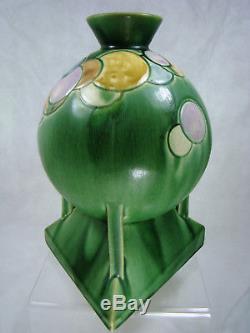 Roseville Art Pottery FUTURA BALLOONS GLOBE VASE 404-8 VIBRANT Green Art-Deco