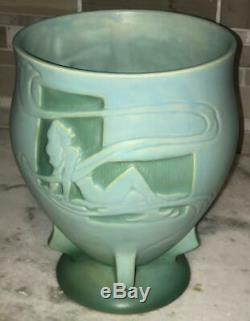 Roseville Pottery Art Deco SILHOUETTE Cameo Green Nude Vase 763-8 Excellent