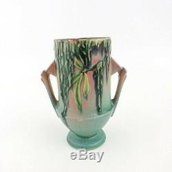 Roseville Pottery Pink Moss Vase Handled Pedestal 774-6 Art Deco Circa 1930's