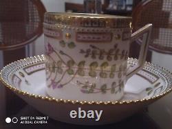 Royal Copenhagen Porcelain Flora Danica Cup and Saucer Anagallis tenella