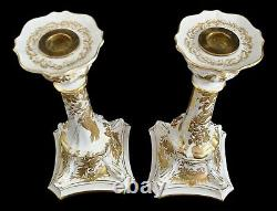 Royal Crown Derby Gold Aves Porcelain China Candlesticks Candle Holders 10 1/2