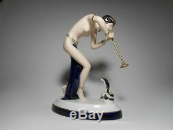 Royal Dux Eloquent Art Deco Porcelain Snake Charmer Figurine With Full Marks