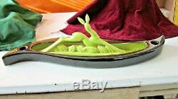 Royal Haeger Royal Hickman R974 Candle Holder Planter withChartreuse Leaping Deer