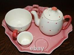 Royal Winton vintage Polka Dot pink Countess breakfast set on tray