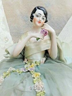 STUNNING 1920's ANTIQUE FRENCH ART DECO HALF-DOLL PORCELAINE DRESS RIBBON WORK