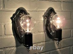 SUPER RARE Pair Black Porcelain Art Deco Wall Sconces Sterling Silver Accents