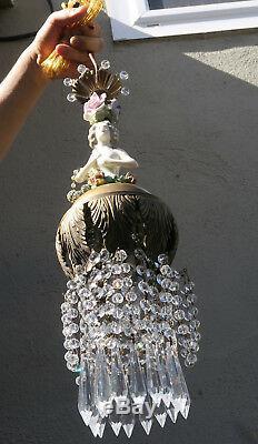 SWAG lamp vintage Porcelain Brass Art Deco lady crystal prism dress ROSE hat