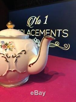 Sadler Art Deco Floral Teapot Round Bulbous 1937 Yellow Pink Blue Flowers