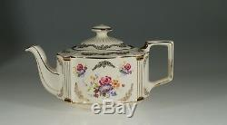 Sadler Rare Oval Teapot with Pink Roses and Gold Gilt, England c. 1940-50