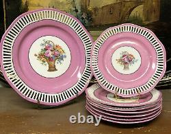 Service à Dessert Porcelaine Rose Ajouré Art Deco Plat Assiette à Gateau Fleur