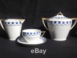 Service à thé d'époque Art déco 1925 porcelaine de Limoges 6 tasses LUSTUCRU