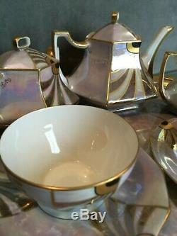 Service à thé tête tête porcelaine Limoges Paillet Art déco plateau théière