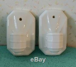 Set Of 2 Art Deco Porcelain Light Fixtures
