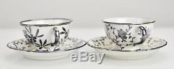 Set of 2 Richard Ginori Italian Silver Overlay Porcelain Mocha Cups & Saucers