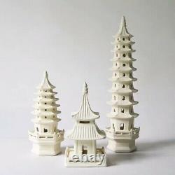 Set of 3 Chinoiserie White Towers Chinese Porcelain Pavilion Pagoda