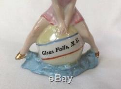 Sexy Bathing Beauty Lady Figurine Souvenir Porcelain Bisque Vtg Art Deco Germany